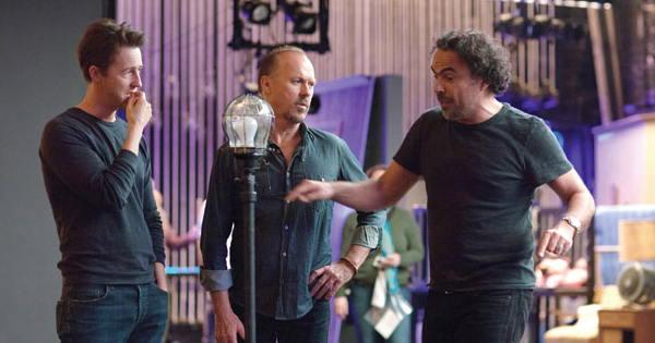 Alejandro Inarritu directing Edward Norton, Michael Keaton