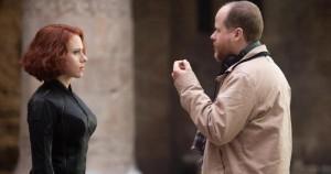 Joss Whedon directing Scarlett Johansson in Avengers - Age of Ultron, 2015