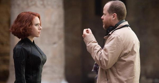 Scarlett Johansson and Joss Whedon in Avengers- Age of Ultron, 2015