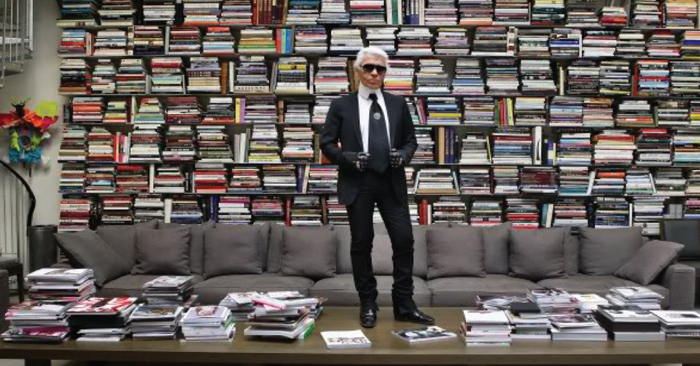 Karl Lagerfeld in library by Stefan Strumbel