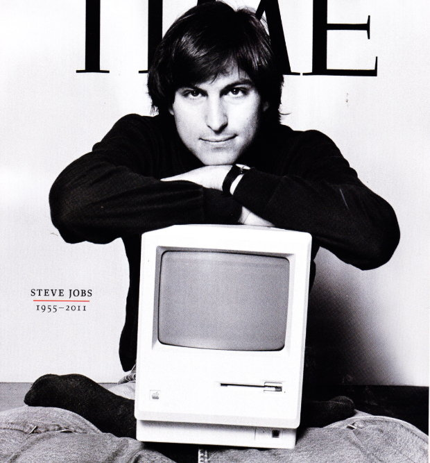 Steve Jobs with Mac 1984 TIME mag.