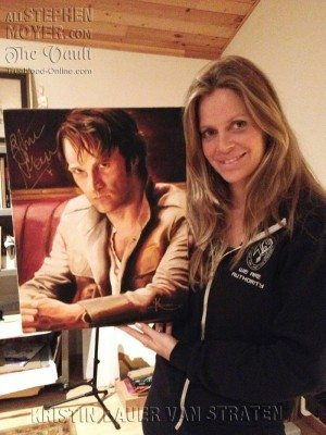 Kristin Bauer van Straten with her oil portrait of Stephen Moyer