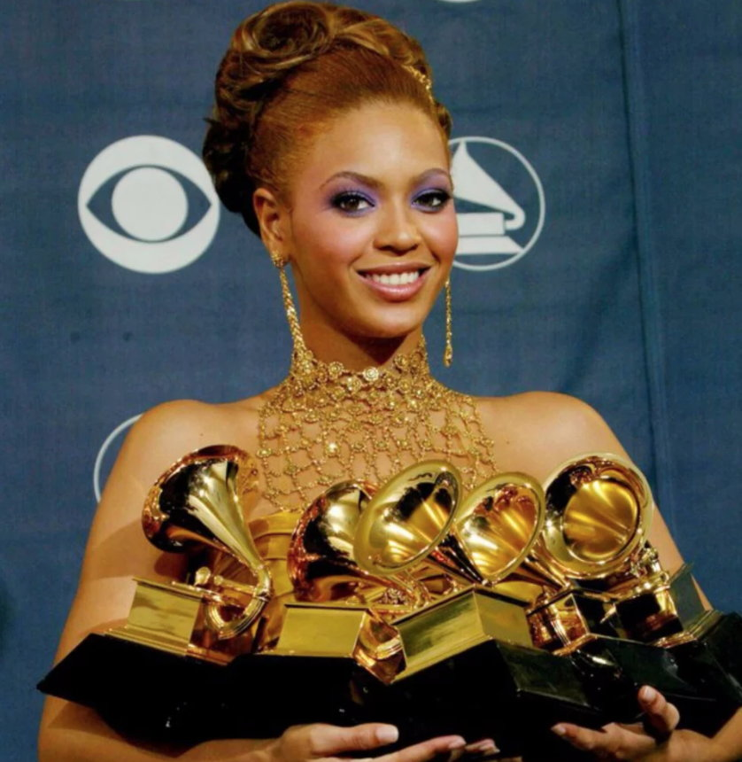 Beyonce with some of her Grammys