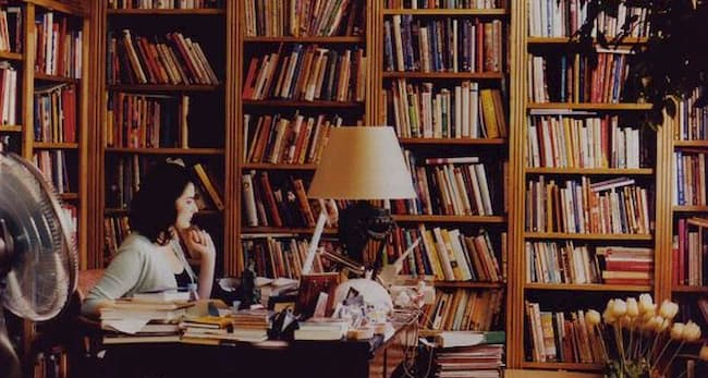 Nigella Lawson writing in her study